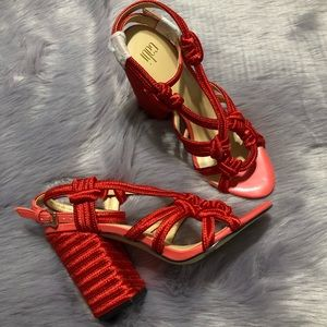 NWOT CAbi Ankle Strap Red Block High Heel